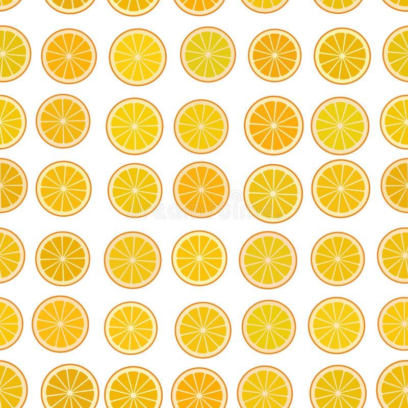 Apelsinen skivar den enkla sömlösa modellen med ett stycke av orange citrusfrukt som isoleras på vit bakgrund vektor vektor illustrationer