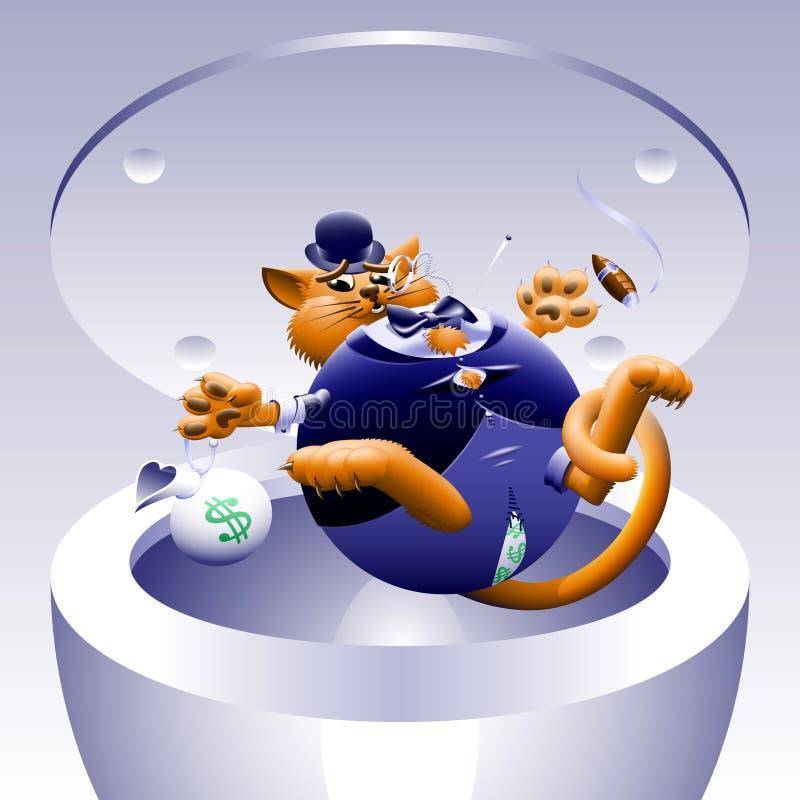 Inga feta katter 4: Katt i canen royaltyfri illustrationer