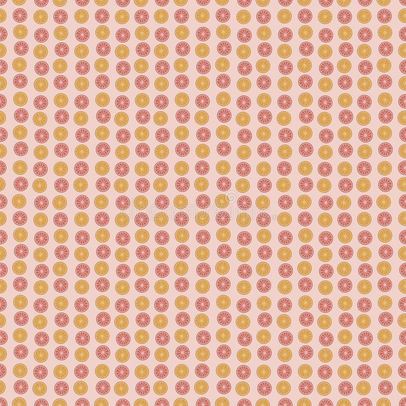 Apelsiner apelsin och citrusa vertikala band för röd frukt för grapefruktskivarunda på ett ljus - sömlös vektormodell för rosa ba vektor illustrationer