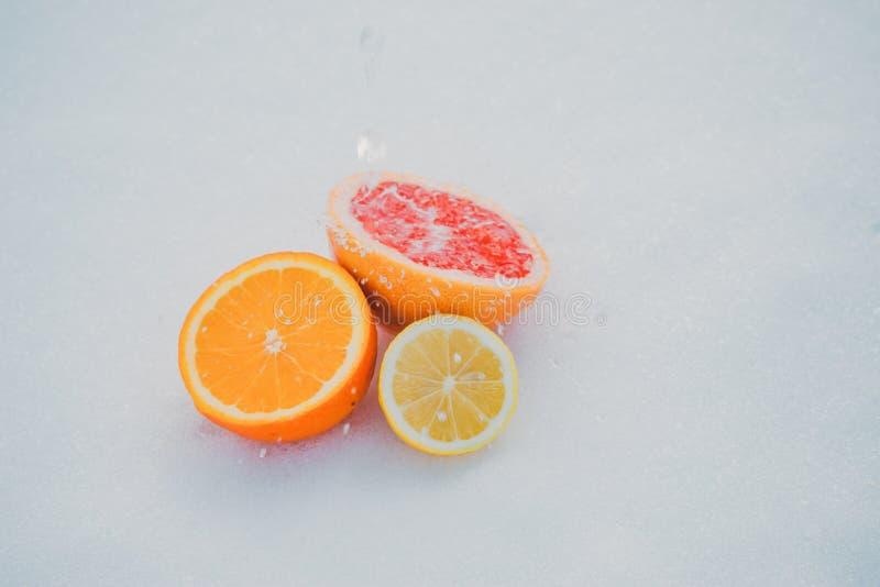 apelsiner för citrusfruktcitronlimefrukter Stycken av citronen, limefrukt, tangerin, den rosa grapefrukten och apelsinen på vit b royaltyfria bilder