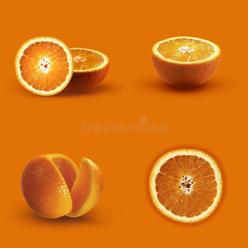 Apelsiner på en orange bakgrund Monokrom apelsin fotografering för bildbyråer