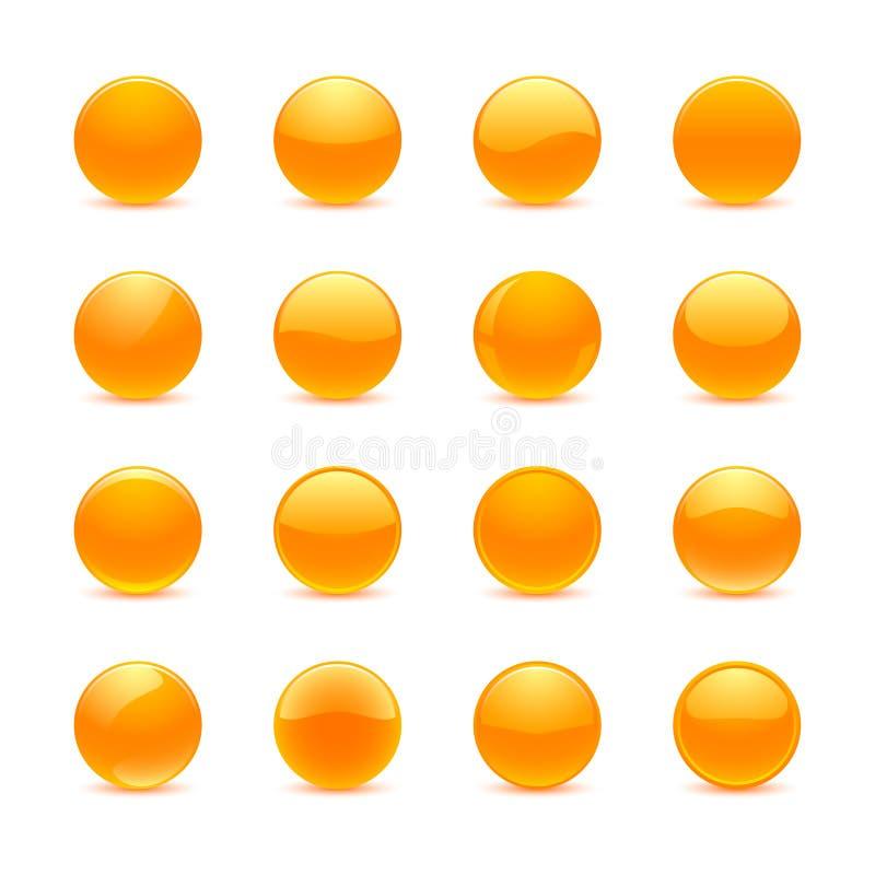 Apelsinrundaknappar vektor illustrationer