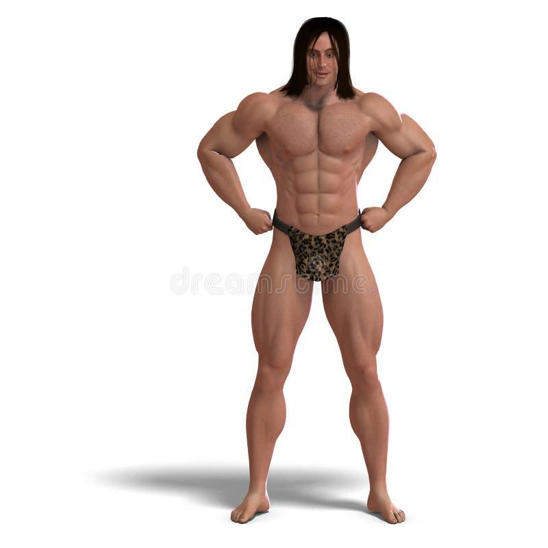 Apeman uit de wildernis. het 3D teruggeven met royalty-vrije illustratie