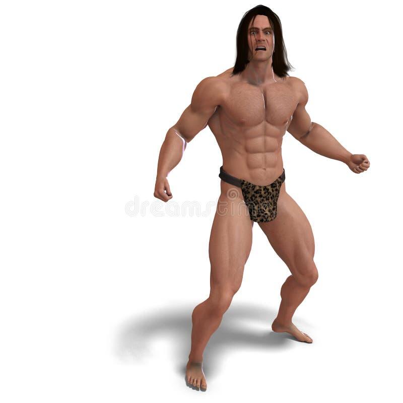 Apeman uit de wildernis. het 3D teruggeven met vector illustratie