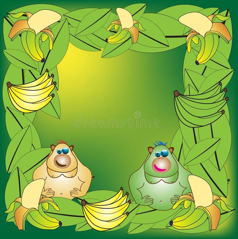 Apen en bananen royalty-vrije illustratie
