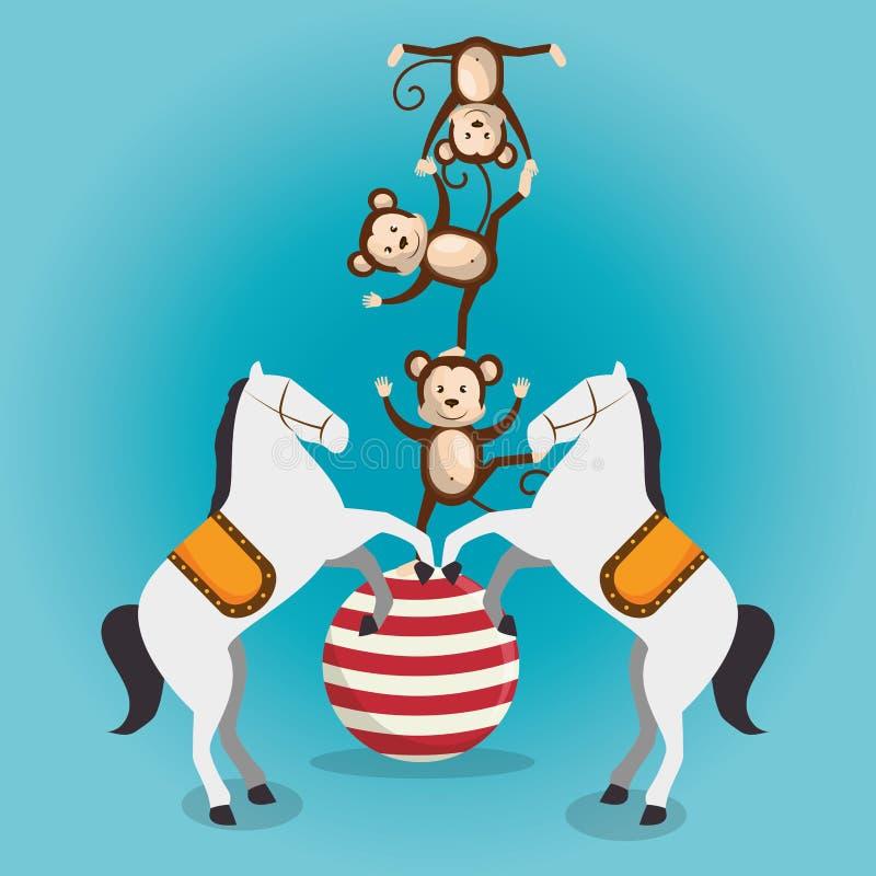 Apen en paarden het circus toont vector illustratie