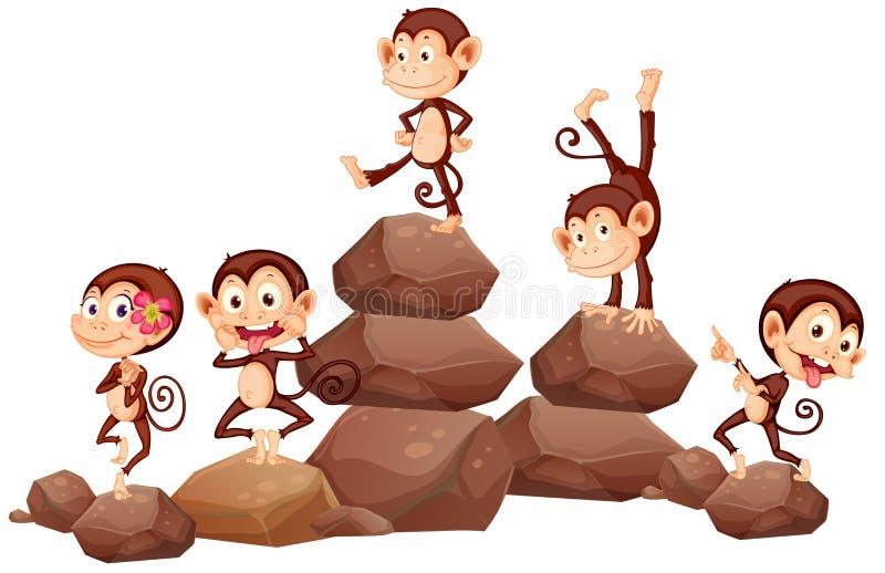 Apen en rotsen vector illustratie