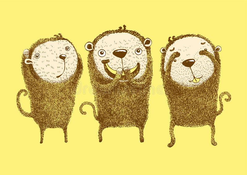 3 apen, horen geen kwaad, zien geen kwaad, spreken geen kwaad stock illustratie