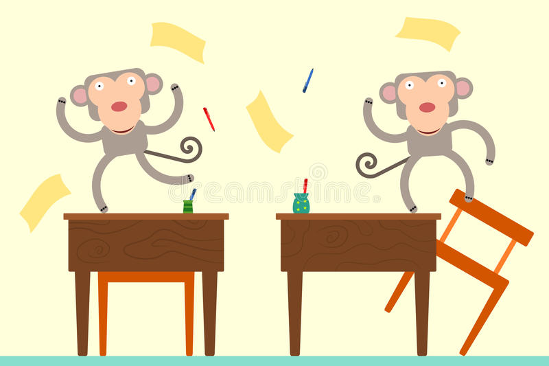 Apen in klasse stock illustratie