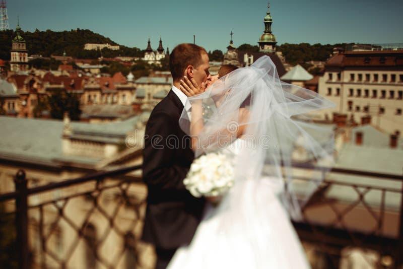 Apenas beso casado debajo de un velo en el frente de un gran paisaje urbano imágenes de archivo libres de regalías