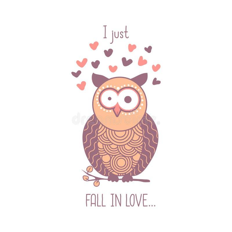 Apenas caigo en amor Búho chocado rosa lindo de la historieta con los corazones Elemento aislado para el diseño de la tarjeta de  libre illustration
