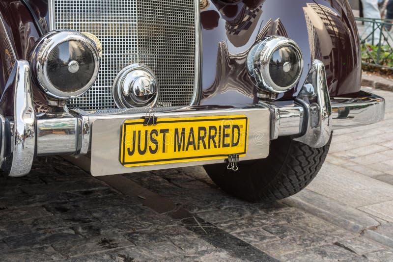 Apenas carro casado para o casamento imagem de stock royalty free