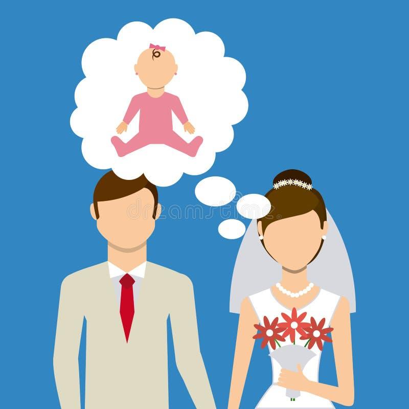 Apenas casado ilustração stock