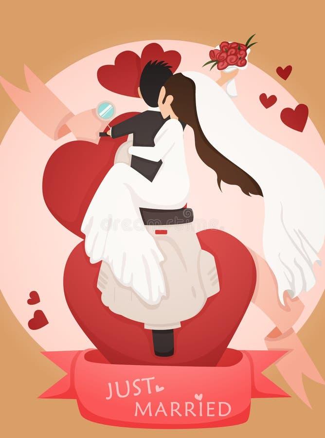 Apenas casado casandose diseño de tarjeta de la invitación stock de ilustración