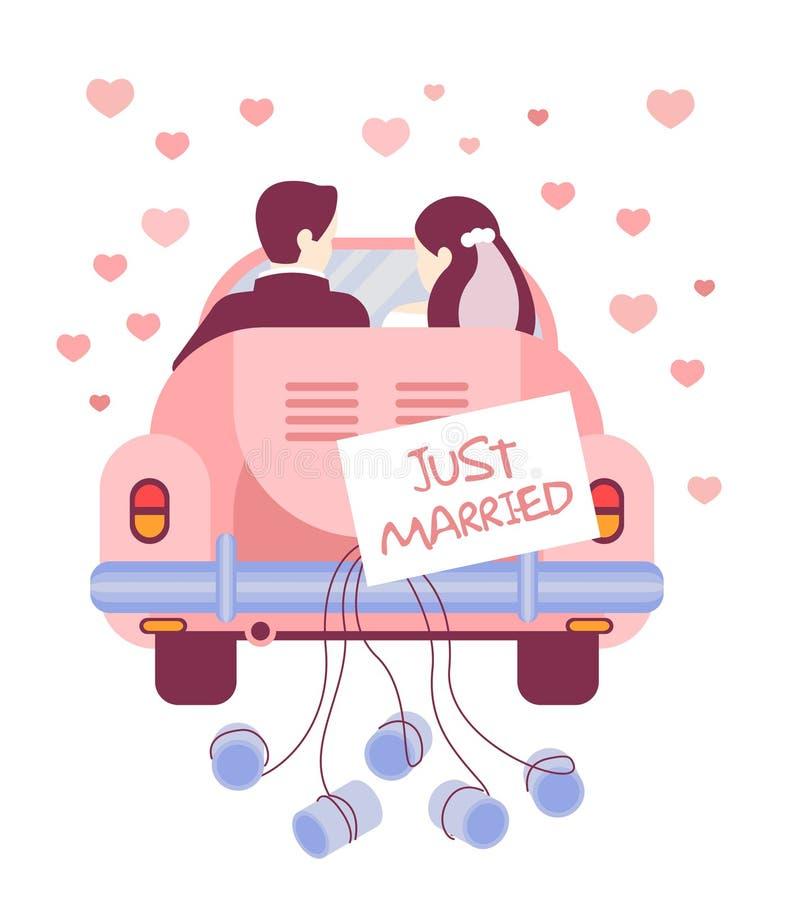 Apenas casado en el coche Ilustración del vector libre illustration