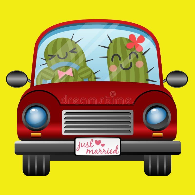 Apenas casal do cacto no carro vermelho ilustração do vetor