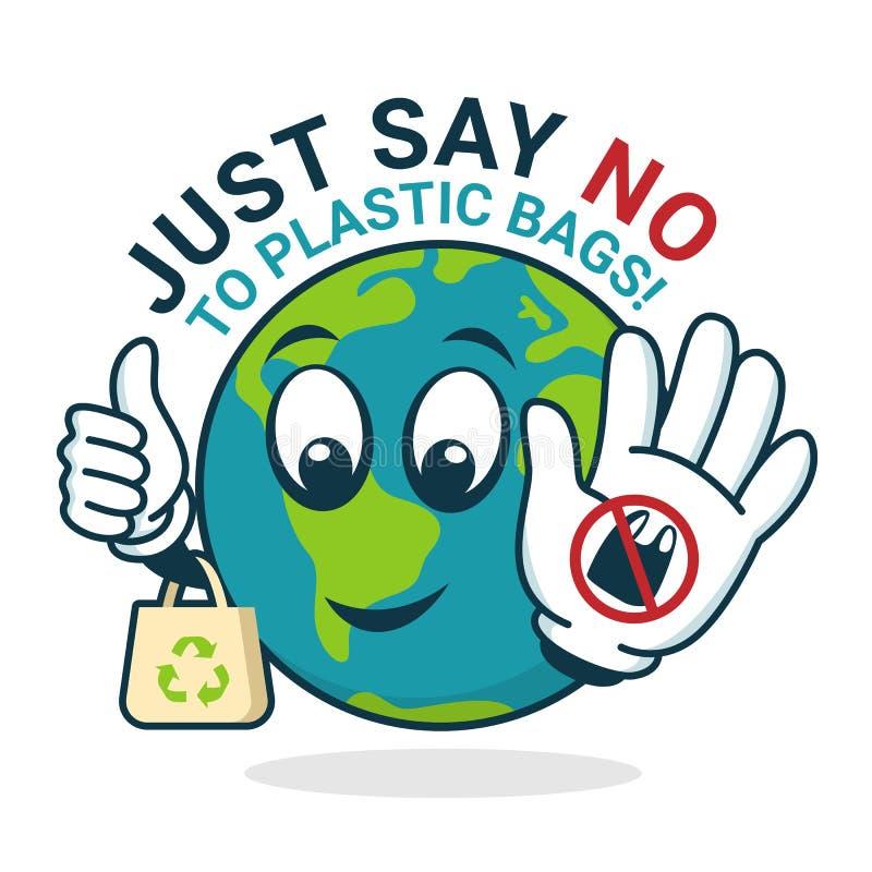 Apenas diga não ao saco de plástico com sinal da parada da mostra do charator do mundo e projeto plásticos do vetor da bandeira d ilustração royalty free