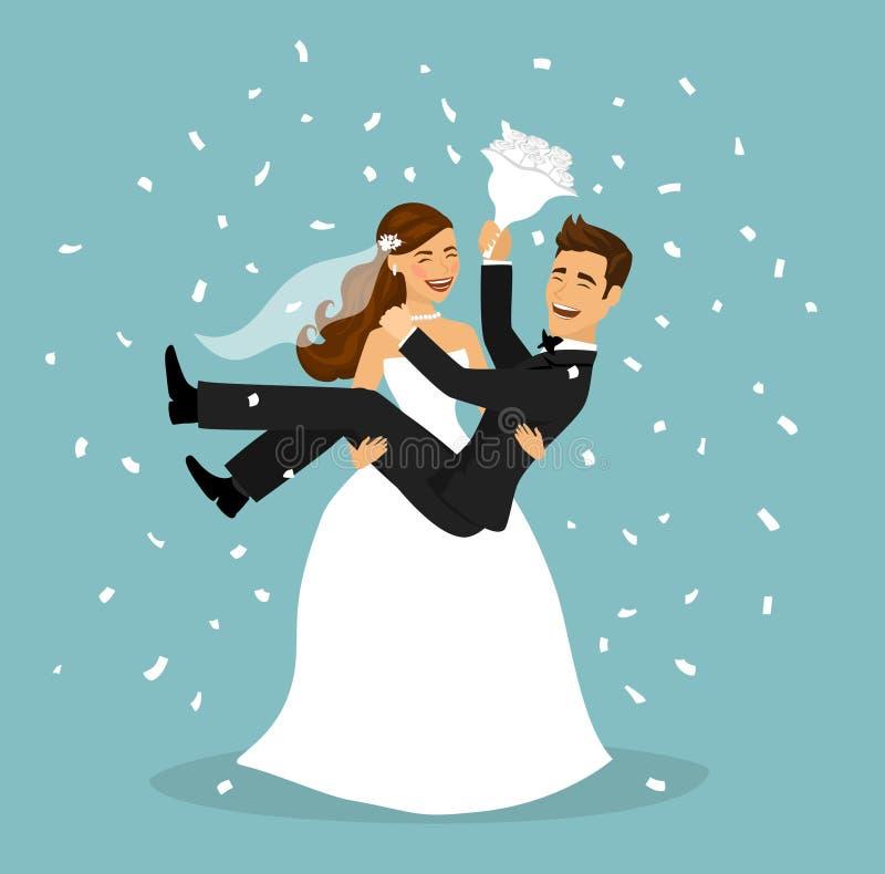 Apenas la pareja casada, novia lleva al novio en los brazos después de ceremonia de boda ilustración del vector