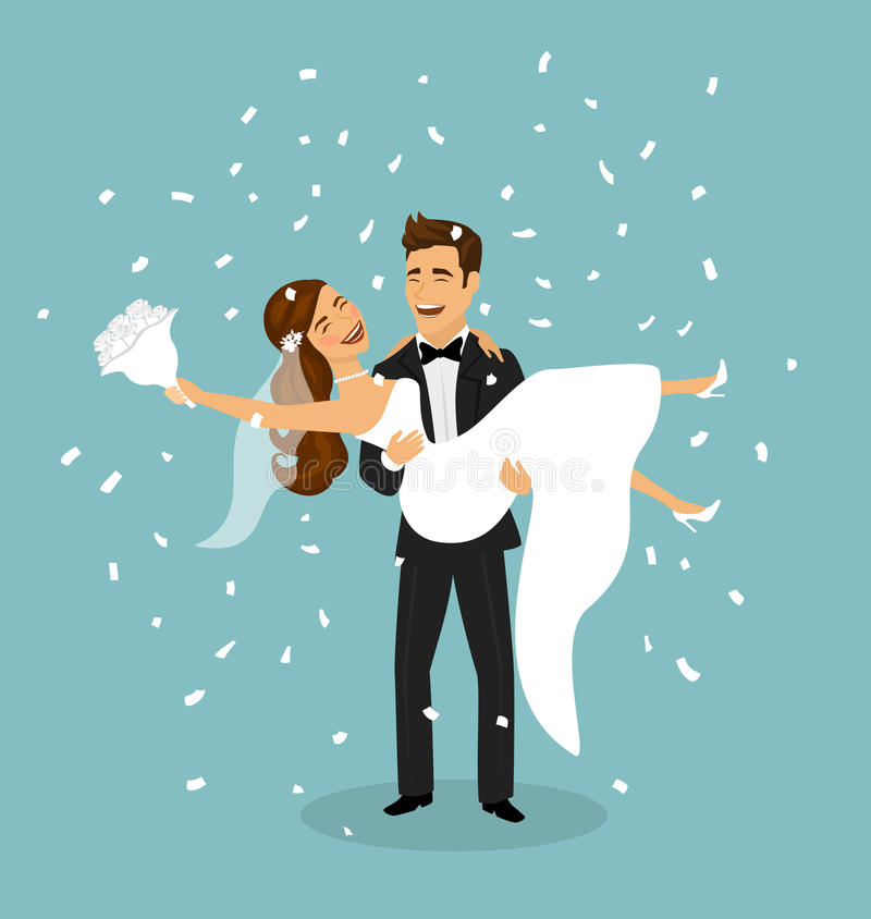 Apenas la pareja casada, novio lleva a la novia en brazos después de ceremonia de boda ilustración del vector