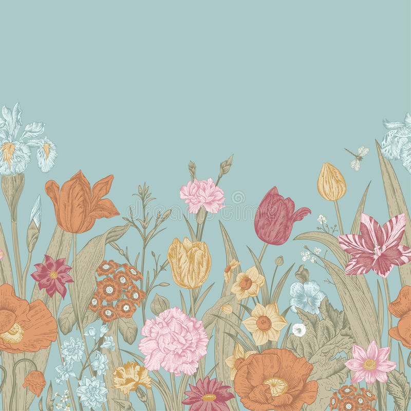 Apenas llovido encendido Frontera floral inconsútil libre illustration