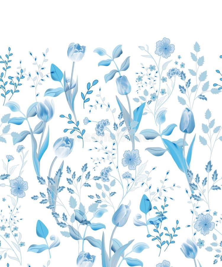 Apenas llovido encendido Frontera floral inconsútil Ejemplo del vector del vintage ilustración del vector