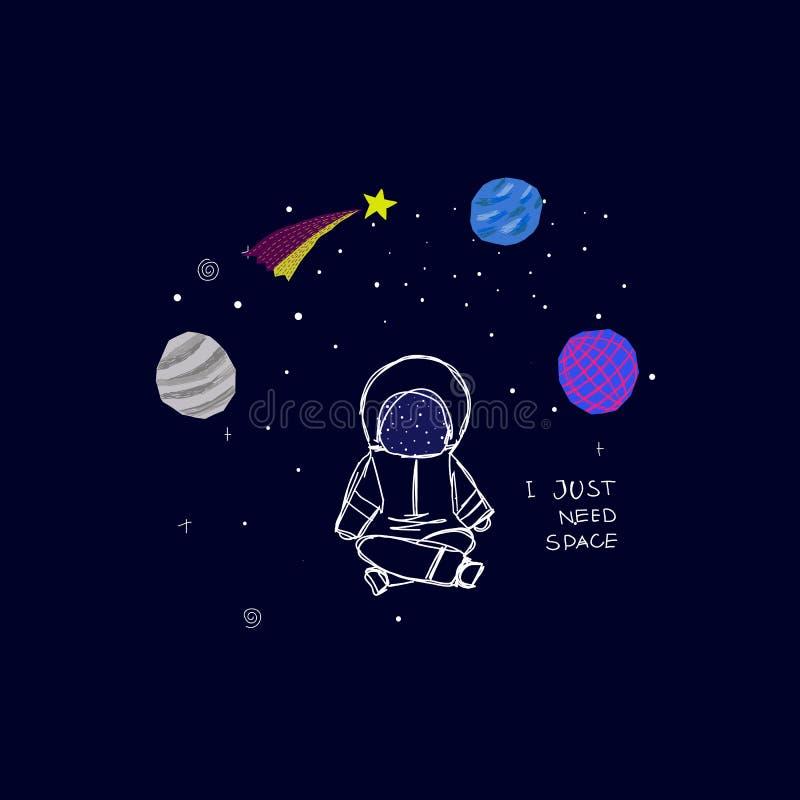 Apenas necesito la tarjeta del astronauta de la estrella del planeta del espacio ilustración del vector