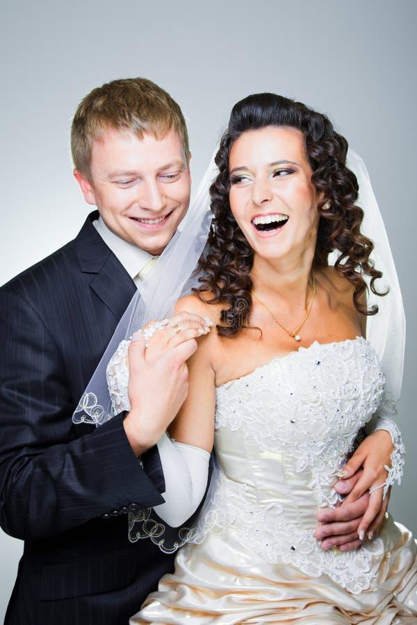 Apenas noiva e noivo casados fotografia de stock