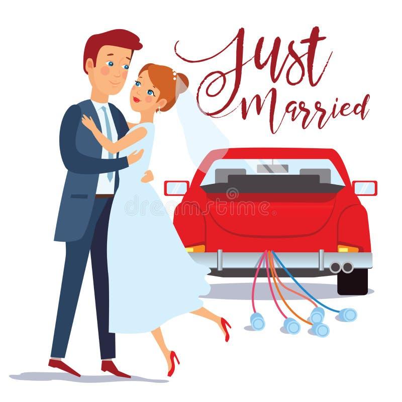 Apenas novia casada y novio felices de la pareja que se abrazan, diseño de la invitación de boda, ejemplo del vector Apenas coche stock de ilustración
