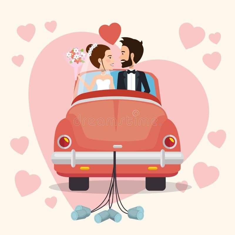 Apenas pareja casada con los caracteres de los avatares del coche ilustración del vector