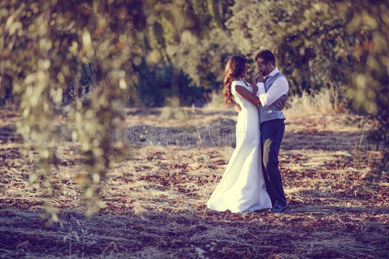 Apenas pareja casada en fondo de la naturaleza foto de archivo