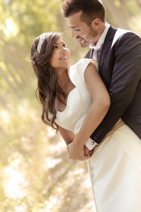 Apenas pareja casada en fondo del álamo imagen de archivo libre de regalías