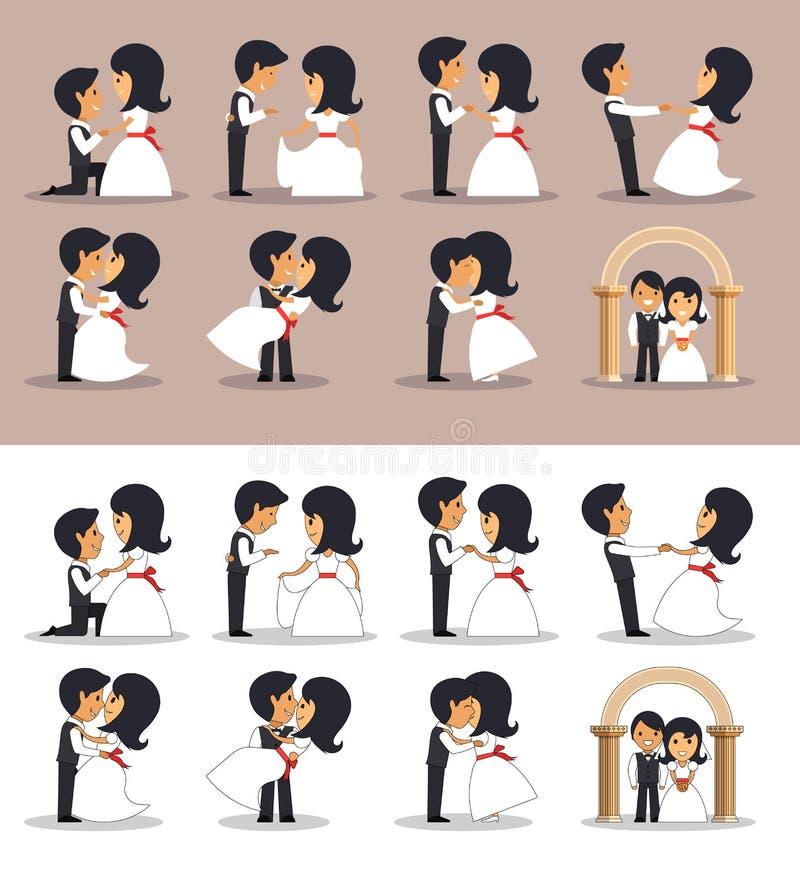 Apenas parejas casadas en diversas actitudes Ejemplo del vector en estilo plano Siluetas de los pares de la boda libre illustration