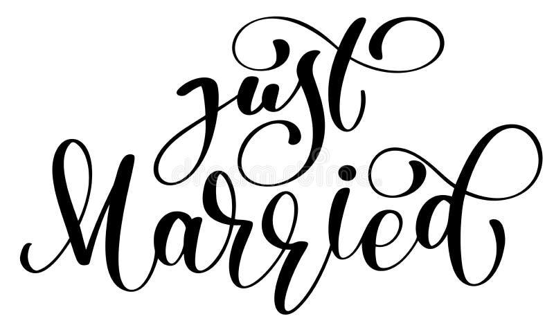Apenas texto casado del vector en el fondo blanco Ejemplo de las letras de la boda de la caligrafía Para la presentación en tarje libre illustration