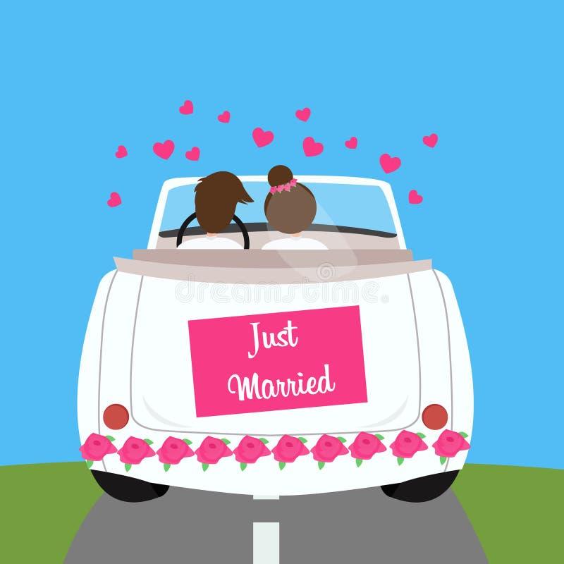 Apenas união casada da lua de mel dos pares do carro do casamento ilustração royalty free