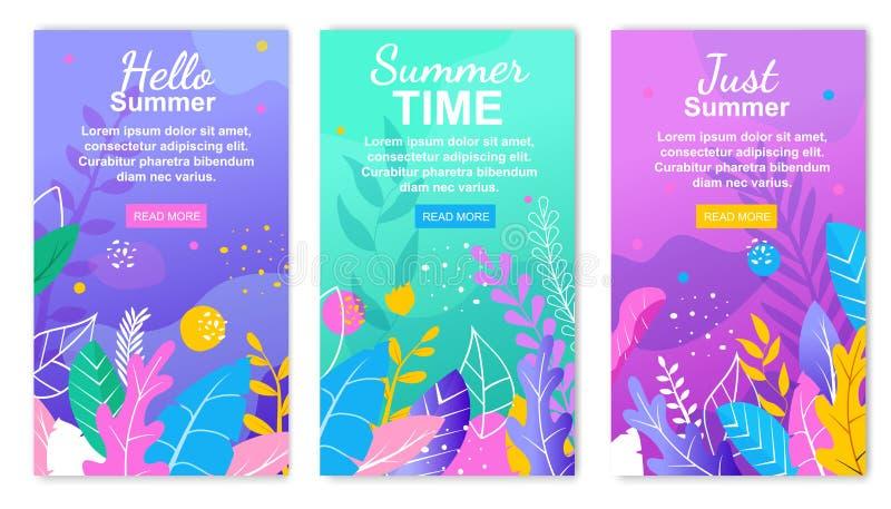 Apenas verano Hola sistema floral de la bandera del tiempo de verano ilustración del vector