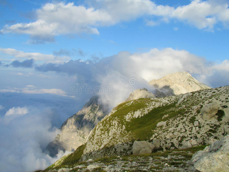 Apennine Mountain Range. Beautiful rocky peak of Apennine Mountain Range in summer. TheApenninesorApennine Mountains in Italy. Lots of stone and stock image