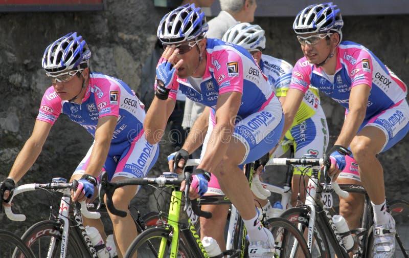 Apennines Cycling Race 2010. Lampre Farnese Vini team group during Apennines cycling race 2010. Date of the photo: April, 25 2010 stock photo