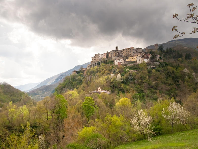 Apennines. Italy, Apennines Umbria-Marche-Abruzzo: Road Trebbio, Bolognola, Sarnano. Panorama of the mountains Sibillini stock images