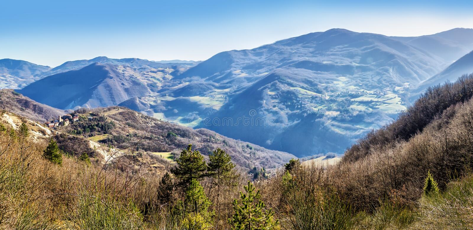 Apennines panorama. Panoramic landscape of Apennine mountains, Italy. The Apennines panorama royalty free stock photo