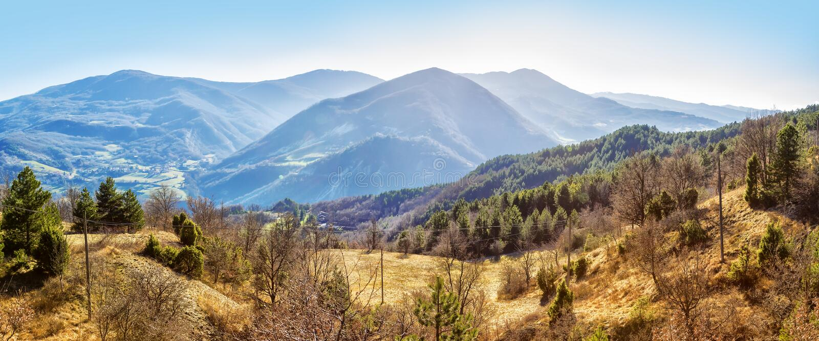 The Apennines panorama. Panoramic landscape of Apennine mountains, Italy. The Apennines panorama stock images