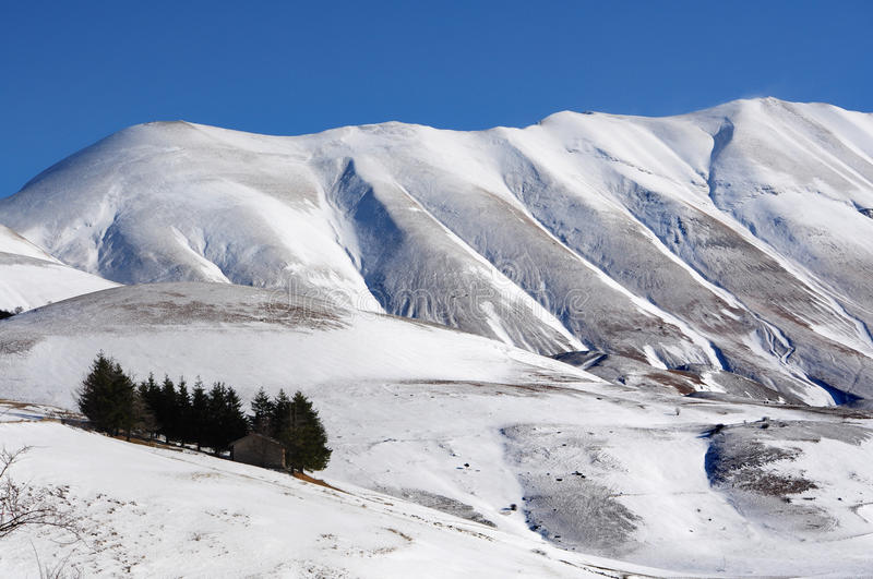 Apennines with snow. Detail of apennines mountain in castelluccio of norcia italy stock photo