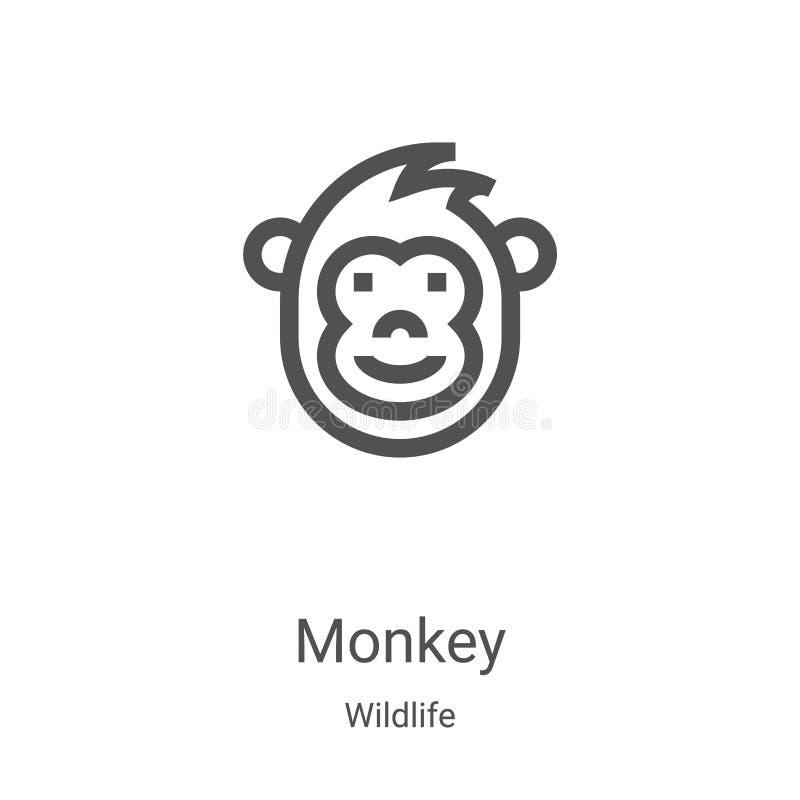 apenpictogram vector van wildlife inzameling Thin line aap overzicht pictogram vectorillustratie Lineair symbool voor gebruik op  vector illustratie