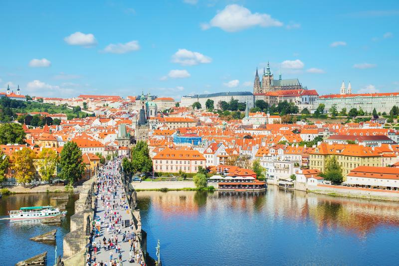 Aperçu aérien de Prague photographie stock
