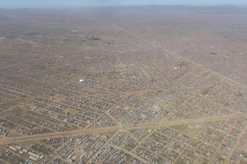 Aperçu de la ville d'El Alto, la deuxième ville de l'afte de la Bolivie photographie stock libre de droits