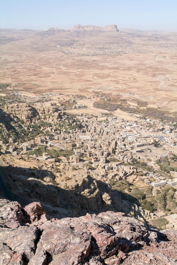 Aperçu de vallée de Shibam vu de Kawkaban sur le Yémen photo libre de droits