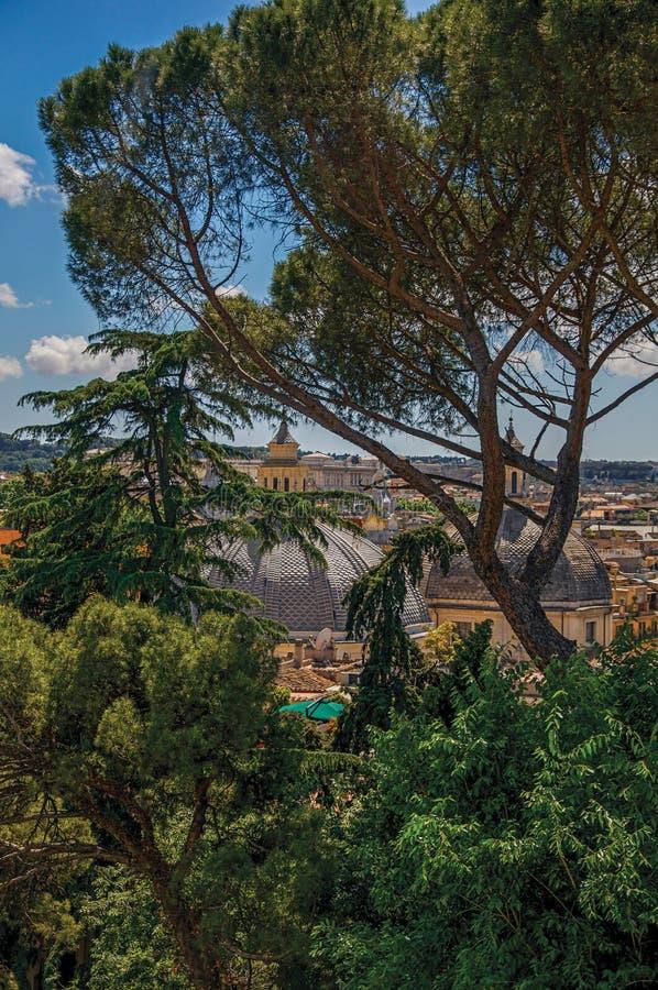 Aperçu des arbres, dômes de cathédrales et toits des bâtiments un jour ensoleillé à Rome photos stock