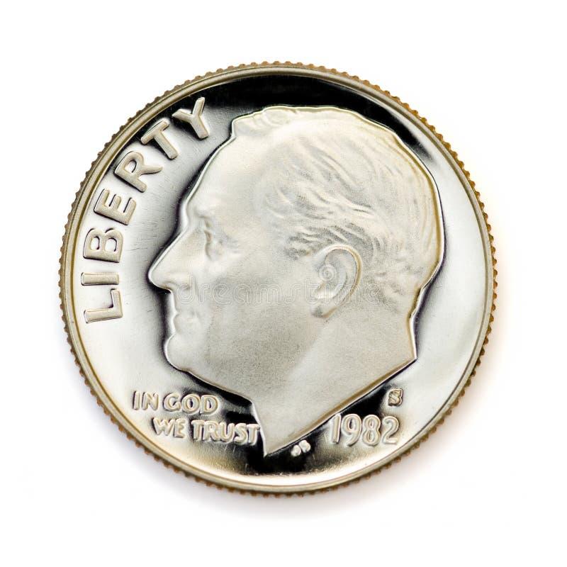 Aperfeiçoe a moeda de dez centavos uncirculated imagens de stock