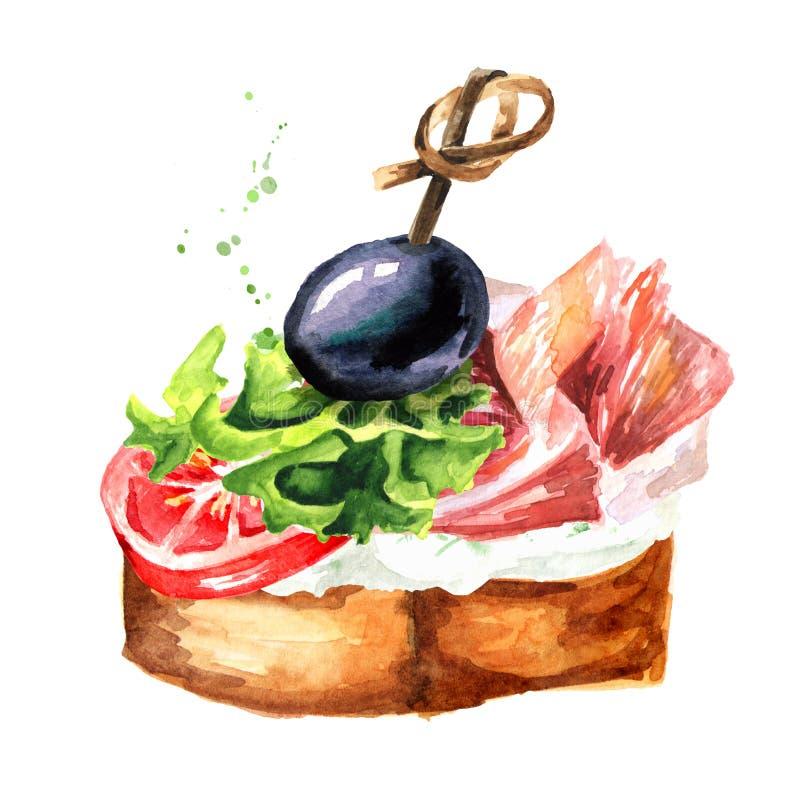 aperitivo Bocadillo con el tomate, el queso cremoso, el hamon y la aceituna Ejemplo dibujado mano de la acuarela aislado en el fo libre illustration