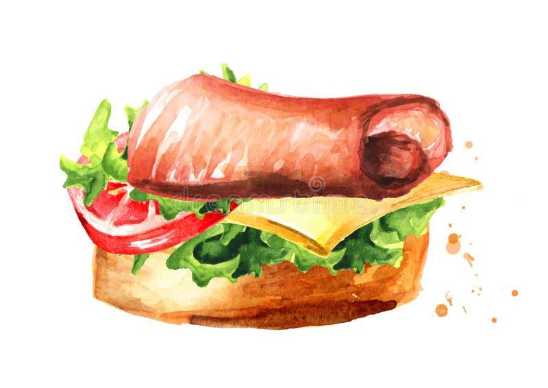 aperitivo Bocadillo de jamón con el tomate y el queso Ejemplo dibujado mano de la acuarela aislado en el fondo blanco stock de ilustración