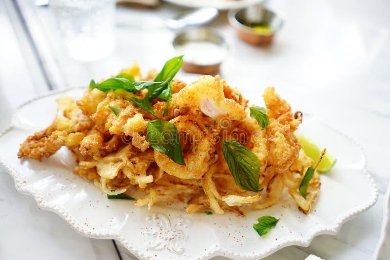 aperitivo croccante fritto del calamaro fotografie stock